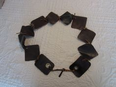 Textured Chocolate Brown Leather BELT with by BecomingDesigns