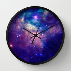 Galaxy stars Wall Clock by Laureenr