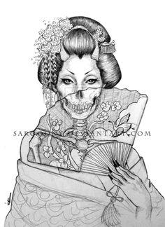 Geisha Tattoos, Geisha Tattoo Design, Irezumi Tattoos, Mädchen Tattoo, Body Art Tattoos, Sleeve Tattoos, Tattoo Forearm, Geisha Drawing, Geisha Art