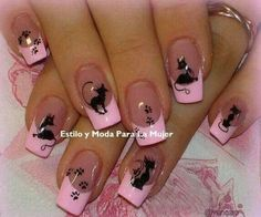 Pink Cat Nails Picture from Nail Designs. Cat Nail Art, Animal Nail Art, Pink Nail Art, Cat Nails, Pink Manicure, Funky Nails, Love Nails, Pretty Nails, Black Nail Designs