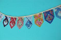 Handkerchief Bunting 100 percent repurposed item