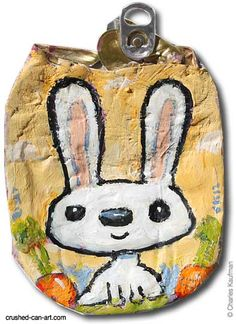 bunny white bg Crushed Can Art in packagings art  with Upcycled Recycled paint crushed Can Art