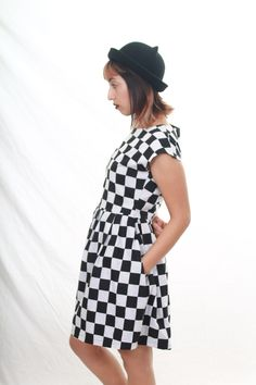 Checkered Dress coming soon to my etsy shop. sewn by me =) #laspacebase #womens #clothing #apparel #babydoll #dresses #checkers #madeinla #grunge #ska