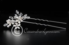 Pearl Flower Bridal Hair Pin with Crystals
