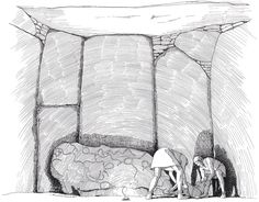 Funeral scene in a megalithic grave in Carapito I, Portugal by archaeological illustrator Flemming Bau