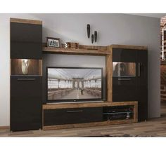 Wall Unit SICILY WHY BUY♦ Natural wood finish with black gloss♦ Double display units♦ LED lights included♦ Great storage value for money♦ Drawers, cupboards and shelf spaces♦ Frames your TV♦ Space for wi-fi, hi-fi and satellite box♦ Quality laminat Furniture, Retail Furniture, New Living Room, Tv Decor, Wall, Entertainment Wall Units, Entertainment Room, Parker House, Wall Unit