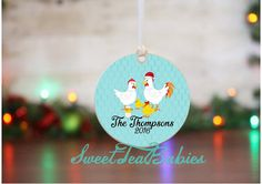 Chicken family ornament family Christmas by SweetTeaDesignsSouth