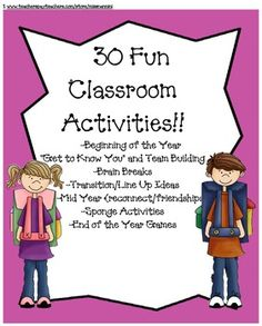 Free for a few more hours!!! Great printable ice breakers, team building activities, brain breaks, time fillers, indoor recess games, sub activities and more.