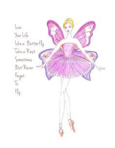 Pink Ballerina Watercolor Art Print Inspirational Print by Zoia