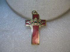 "Red Cloisonne Cross/Crown Pendant, Vintage, 1980's, 2"" #Unsigned #pendantonlynochain"
