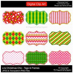 Buy 2 Get 1 Free SALE - clipart tag label frames - a la Christmas Chic - Tags and Frames - Digital Clip Art