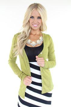 Lime Lush Boutique - Slim Fit Olive Cardigan, $32.99 (http://www.limelush.com/slim-fit-olive-cardigan/)