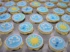 Weather Cupcakes.Come rain or shine...... Variety of vanilla and chocolate cupcakes with butter cream topping and a weather forcast symbol top