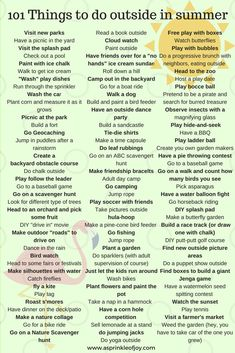 101 things to do outside this summer with your kids to beat boredom, get moving, and have fun. Plus a free printable list! 101 things to do outside this summer with your kids to beat boredom, get moving, and have fun. Plus a free printable list! Summer Fun For Kids, Summer Fun List, Summer Bucket Lists, Cool Kids, Outdoor Fun For Kids, Free Summer, This Summer, Kids Fun, Kids Summer Schedule