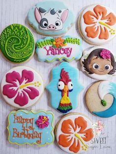 Moana Birthday Decorations, Moana Birthday Party Theme, Birthday Party Treats, Moana Themed Party, Girl Birthday Themes, Luau Birthday, Birthday Cookies, 4th Birthday Parties, Moana Cookies