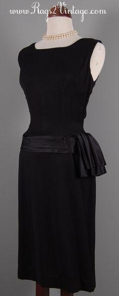 Rags 2 Vintage - Moon River Vintage 50s 60s Black Cocktail Dress with Satin trim, $69.00 (http://www.rags2vintage.com/moon-river-vintage-50s-60s-black-cocktail-dress-with-satin-trim/)