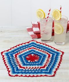 Patriotic Pentagon Doily - The pentagon, a symbol of strong American pride, has been used as the shape for our patriotic doily. This pretty crochet design is perfect for every patriotic holiday or when cheering on the USA Olympic team.
