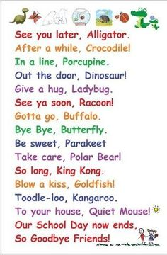 Bye Bye poem on Small Poster: