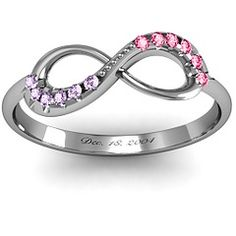 Infinity couples birthstones Accent Ring engraved with your anniversary...  Very pretty!