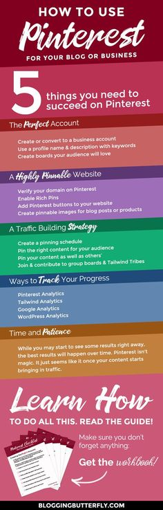 Pinterest for Bloggers: How to use Pinterest to grow your blog or blog-based business. Learn the 5 things you need to get more traffic to your blog with Pinterest. Read this and more blogging success tips for beginners: https://bloggingbutterfly.com/pinte
