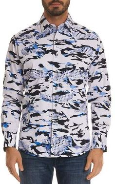 Shop Men's Scales Classic Fit Camo-Design Sport Shirt from Robert Graham at Neiman Marcus Last Call, where you'll save as much as on designer fashions. Camo Designs, Robert Graham, Camo Print, Sports Shirts, Neiman Marcus, Button Down Shirt, Man Shop, Fitness, Casual