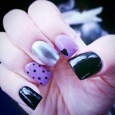 Fun polka dots and hearts nail art OPI purple