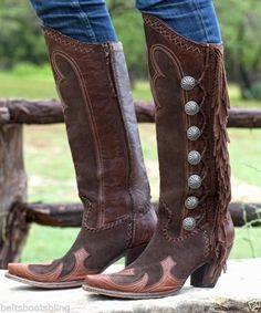 GORGEOUS TALL DOUBLE D RANCH LANE FRINGED BROWN VAQUERO COWGIRL BOOTS   #LANEDDRANCH #CowboyWestern