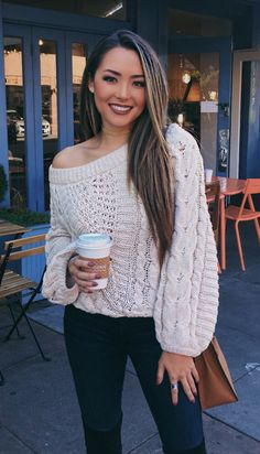 #winter #outfits white cable-knit sweater