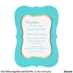 Chic Robins Egg Blue and Gold Wedding Invitation