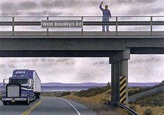 Alex Colville, West Brooklyn Road, Acrylic polymer emulsion on hardboard, 40 x cm. Alex Colville, Canadian Painters, Canadian Artists, Order Of Canada, Royal Canadian Navy, Operation Market Garden, Tate Gallery, Bachelor Of Fine Arts, Magic Realism