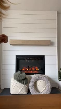 DIY Shiplap Fireplace with Insert DIY Shiplap Fireplace with Insert Nesting with Grace Brookechristen Fireplaces & Mantles DIY Dated Rock Fireplace turned Electric Shiplap Fireplace Makeover Fireplace Cover, Shiplap Fireplace, Home Fireplace, Farmhouse Fireplace, Fireplace Remodel, Fireplace Inserts, Living Room With Fireplace, Fireplace Surrounds, Fireplace Design