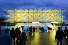 Atelier MASS designed the visual elements in a music festival. Dubai Design Week, Mall Design, Gothic Setting, Architectural Thesis, Arch Light, Membrane Structure, Entrance Design, Space Architecture, Scaffolding
