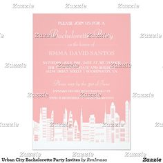 Urban City Bachelorette Party Invites