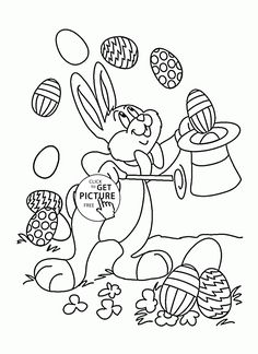 Easter Bunny Illusionist Coloring Page For Kids Holiday Pages Printables Free