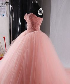 Quality Princess Coral Quinceanera Dresses Ball Gown Prom Dress with free worldwide shipping on AliExpress Mobile Quinceanera Dresses Coral, Baby Pink Prom Dresses, Disney Prom Dresses, Prom Dresses Two Piece, Disney Princess Dresses, Quince Dresses, Sweet 16 Dresses, Beautiful Prom Dresses, Tulle Prom Dress