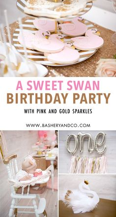 Sweet swans& birthday party Bashery & Co. by Pamelyn Rocco, 1st Birthday Party For Girls, Girl Birthday Decorations, Birthday Party Desserts, First Birthday Themes, Unicorn Birthday Parties, Birthday Celebration, First Birthdays, Birthday Ideas, Birthday Recipes