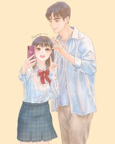 Korean Drama Funny, Korean Drama Movies, Kdrama, Anime Couples Manga, Cute Anime Couples, Cute Anime Boy, Anime Love, Ver Drama, Cute Couple Art