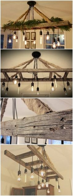 Vintage Farmhouse Ladder Chandelier - Chandeliers - Cozy up to the table and enjoy a meal with your loved ones under the light of our reclaimed ladder chandelier! With the soft amber glow of the Edison bulbs and weathered ladder overhead, happy memories of a bygone era are sure to come to mind. Great for the dining room table, kitchen island, or...