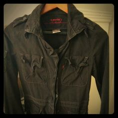 Levis Red Charcoal Grey military jacket Worn only once, practically brand new. Beautiful jacket with beautiful detailing. Can fit sizes 4-6 Levi's Jackets & Coats Utility Jackets