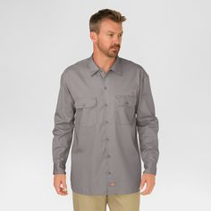 Dickies Original Fit Long Sleeve Twill Work Shirt- Silver X-Large, Size: XL, Silver Gray