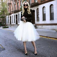black & white style with a tulle skirt