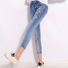 Cheap jeans custom, Buy Quality jeans monkey directly from China jean jacket jeans Suppliers:             Summer Style Women Denim Jeans Flower Print Nine