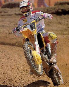 """Pedro Tragter on the gas running #1 in 1994 #motocross #moto #mx #mxgp #90sMotocross #90sMoto #90sMX #suzuki #suzukimxgp"""