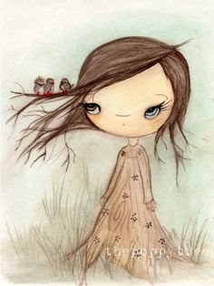 Tree Print Bird Girl Sweet Children Wall Art ---Birds In My Tree