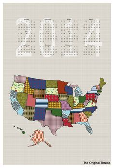 2014 USA States Calendar FQ Cut and Sew - Patchwork style