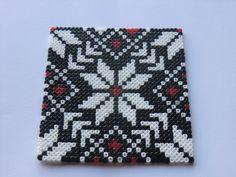 Coaster set hama mini beads by MC & AD Melty Bead Patterns, Pearler Bead Patterns, Perler Patterns, Beading Patterns, Peyote Patterns, Hama Beads Coasters, Diy Perler Beads, Perler Bead Art, Perler Bead Templates