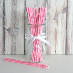 Chevron Party Straws - Fuchsia Pink from the TomKat Studio Shop www.shoptomkat.com