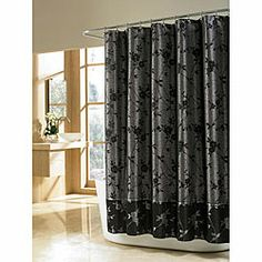 Elegant Black Shower Curtain Motif Design Cute