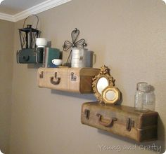 Vintage Suitcase Shelves Tutorial....Love this idea! Great guest room idea..
