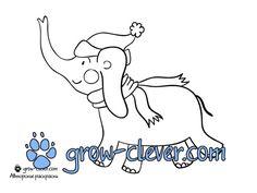 новогодняя раскраска слон скачать бесплатно / elephant coloring page